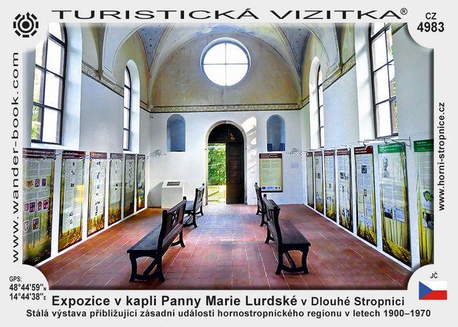 Expozice v kapli Panny Marie Lurdské v Dlouhé Stropnici