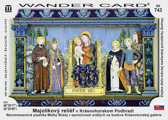 Majolikový reliéf v Krásnohorskom Podhradí