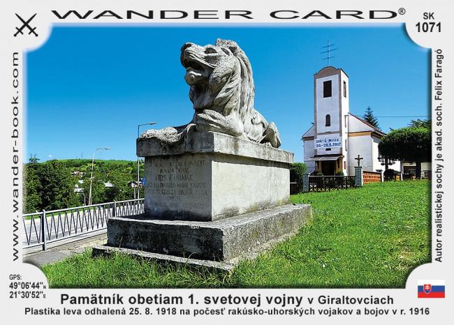 Pamätník obetiam 1. svetovej vojny v Giraltovciach