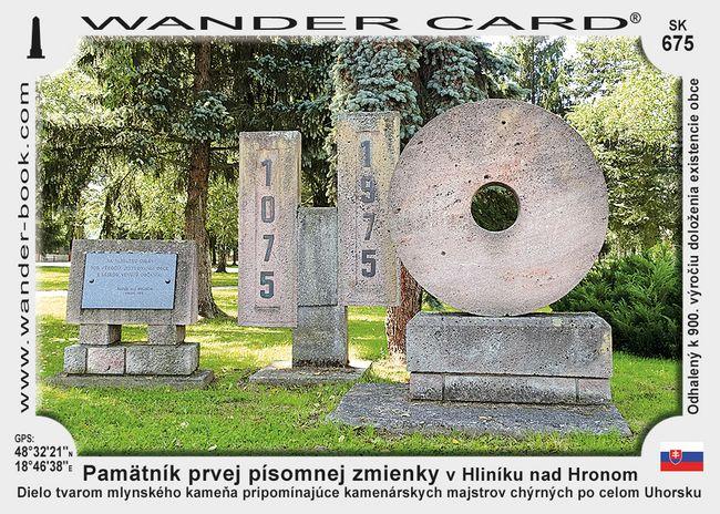 Pamätník prvej písomnej zmienky o obci v Hliníku nad Hronom