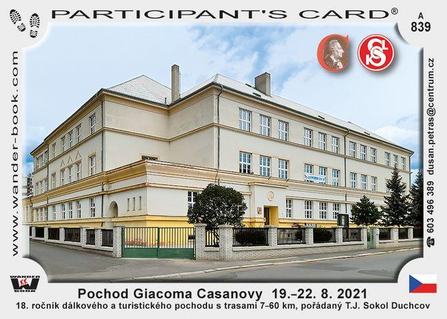 Pochod Giacoma Casanovy  19.–22. 8. 2021