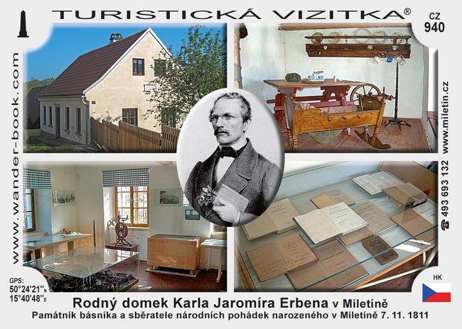Rodný domek K.J.Erbena v Miletíně