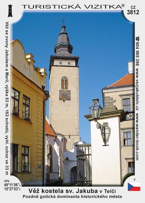 Věž kostela sv. Jakuba v Telči