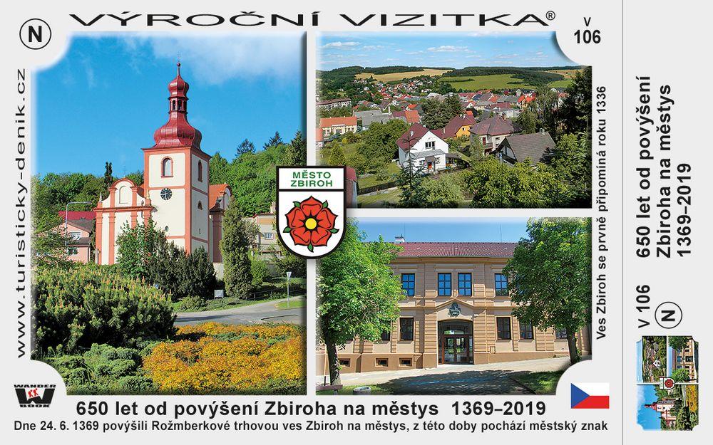 650 let od povýšení Zbiroha na městys  1369–2019
