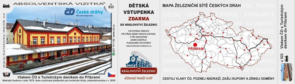 Vlakem ČD s Turistickým deníkem do Příbrami