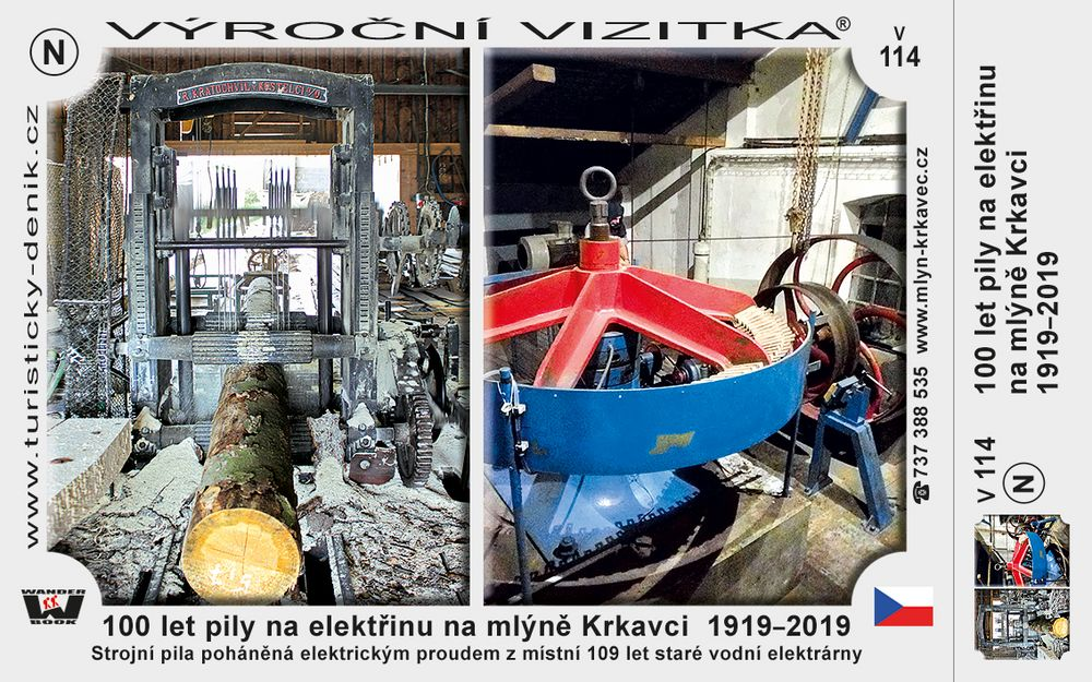 100 let pily na elektřinu na mlýně Krkavci  1919–2019