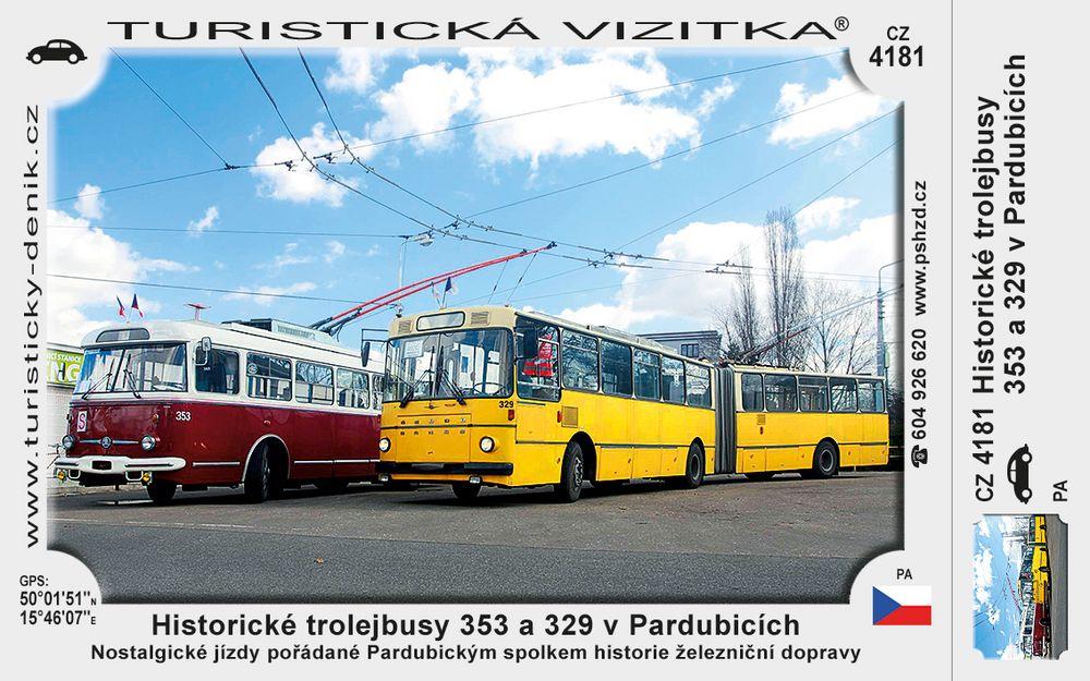 Historické trolejbusy 353 a 329 v Pardubicích