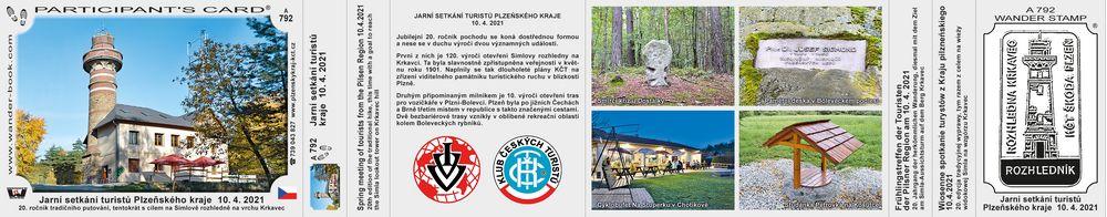 Jarní setkání turistů Plzeňského kraje  10. 4. 2021