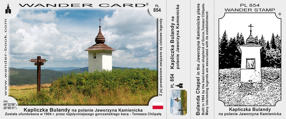 Kapliczka Bulandy na polanie Jaworzyna Kamienicka
