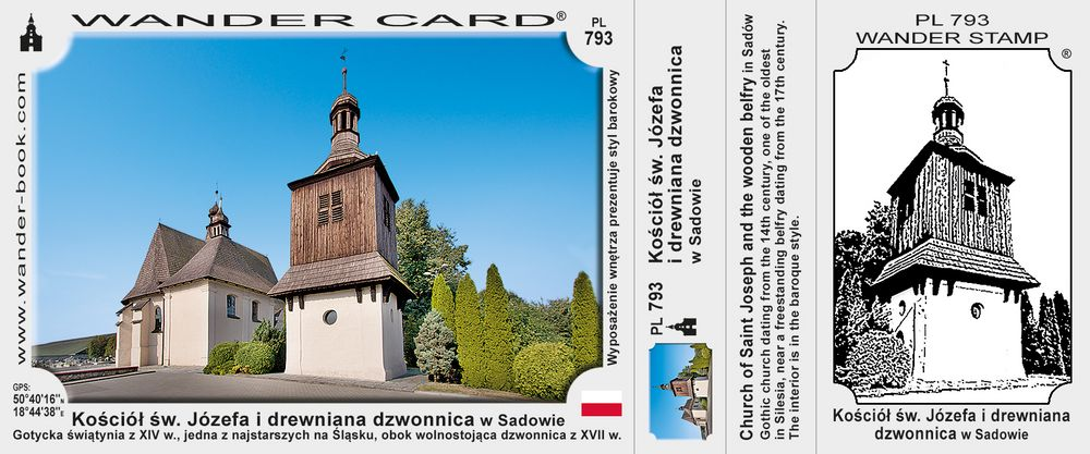 Kościół św. Józefa i drewniana dzwonnica w Sadowie
