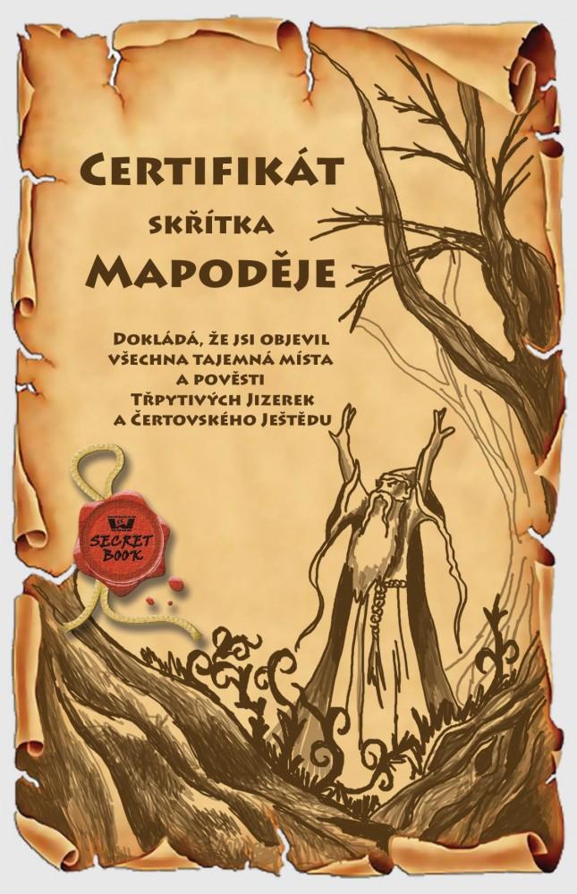 Certifikát skřítka Mapoděje - Jizerské hory a Ještěd