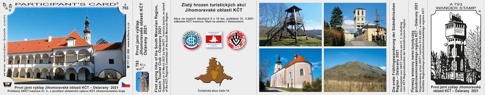 První jarní výšlap Jihomoravské oblasti KČT – Oslavany  2021