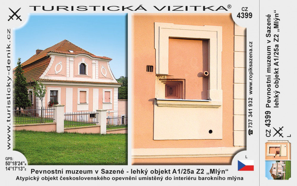 """Pevnostní muzeum v Sazené - lehký objekt A1/25a Z2 """"Mlýn"""""""