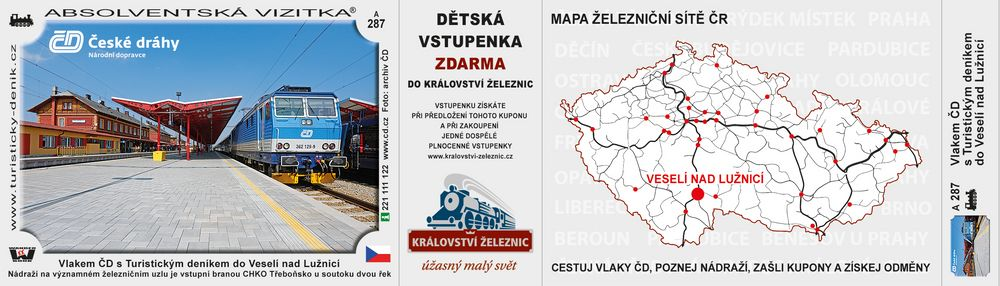 Vlakem ČD s Turistickým deníkem do Veselí nad Lužnicí