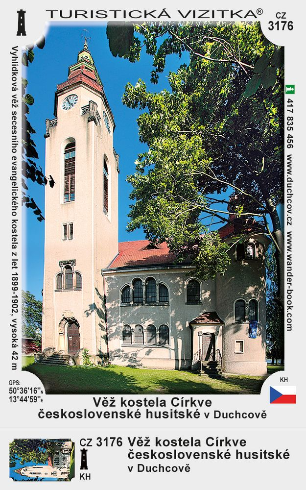 Věž kostela Církve čsl. hus. v Duchcově