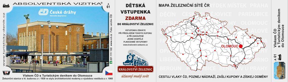 Vlakem ČD s Tur. deníkem do Olomouce