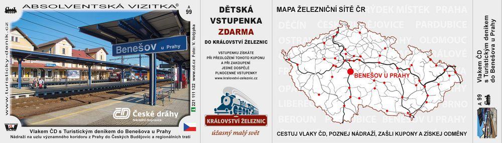 Vlakem ČD s Turistickým deníkem do Benešova u Prahy