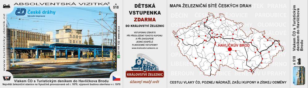 Vlakem ČD s Turistickým deníkem do Havlíčkova Brodu