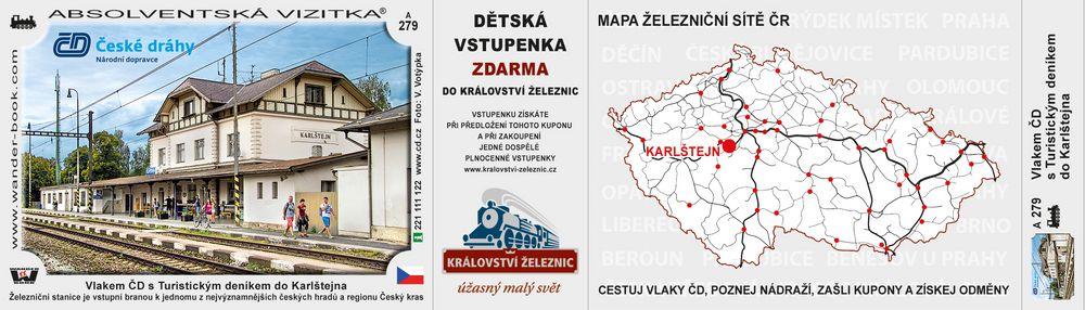 Vlakem ČD s Turistickým deníkem do Karlštejna